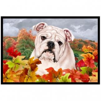 Bulldog Mat - Autumn Leaves (White)