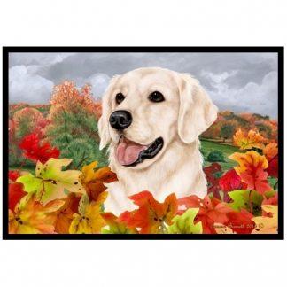 Golden Retriever Mat - Autumn Leaves (White)