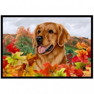 Golden Retriever Mat - Autumn Leaves (Red)