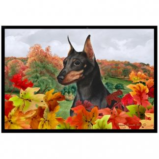 Miniature Pinscher Mat - Autumn Leaves (Black Tan)