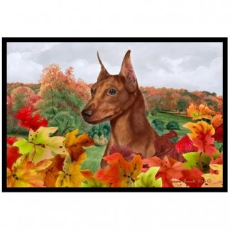 Miniature Pinscher Mat - Autumn Leaves (Red)