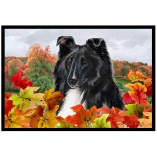 Bi Black Shetland Sheepdog Mat - Autumn Leaves