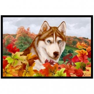 Siberian Husky Mat - Autumn Leaves (Red)