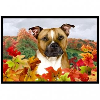 Pitbull Terrier Mat - Autumn Leaves