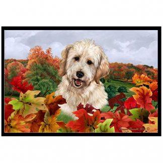 Goldendoodle Mat - Autumn Leaves (White)