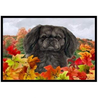 Pekingese Mat - Autumn Leaves (Black)