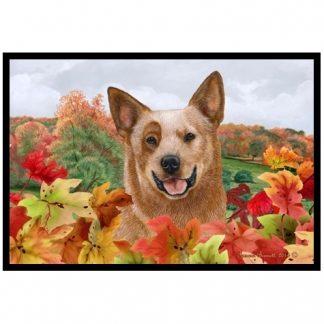 Australian Cattle Dog Mat - Autumn Leaves (Red)