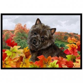 Cairn Terrier Mat - Autumn Leaves (Black)