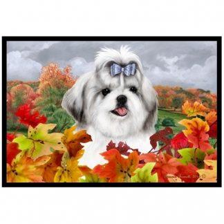 Shih Tzu Mat - Autumn Leaves (Silver)