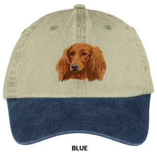 Longhaired Dachshund Hat - Embroidered (Red)