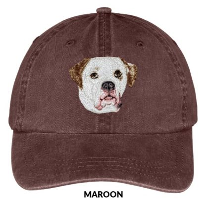 American Bulldog Hat - Embroidered II (White Brown)