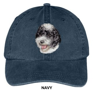 Portuguese Water Dog Hat - Embroidered II (Black White)