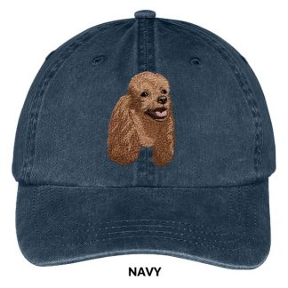 Brown Poodle Hat - Embroidered II