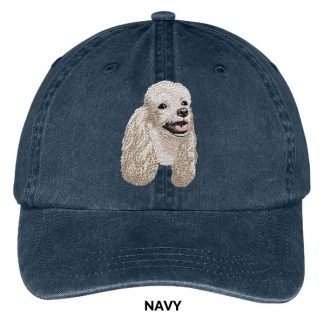 White Poodle Hat - Embroidered II