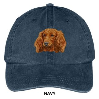 Longhaired Dachshund Hat - Embroidered II (Red)