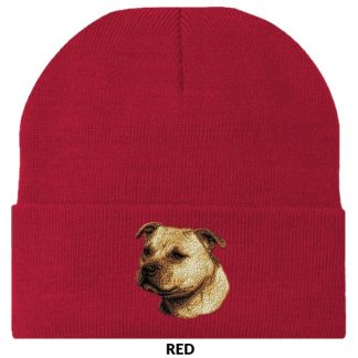 Staffordshire Bull Terrier Knit Cap - Embroidered (Fawn)