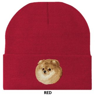Pomeranian Knit Cap - Embroidered