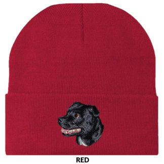 Staffordshire Bull Terrier Knit Cap - Embroidered (Black)