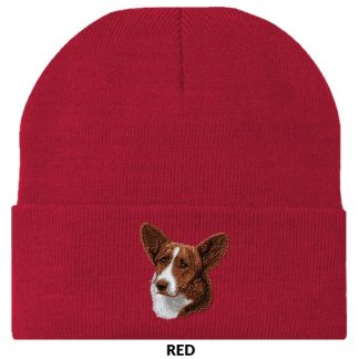 Corgi Knit Cap - Embroidered (Red)