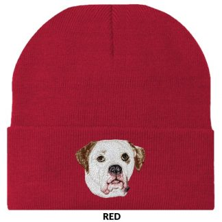 American Bulldog Knit Cap - Embroidered (White Brown)