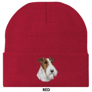 Wire Fox Terrier Knit Cap - Embroidered