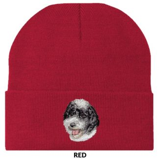 Portuguese Water Dog Knit Cap - Embroidered (Black White)