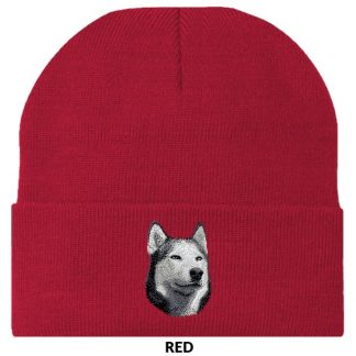 Siberian Husky Knit Cap - Embroidered