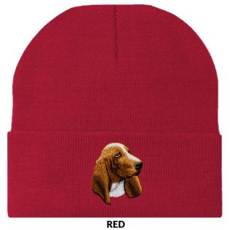 Basset Hound Knit Cap - Embroidered