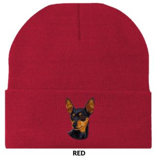 Miniature Pinscher Knit Cap - Embroidered