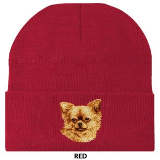 Chihuahua Knit Cap - Embroidered (Longhair)