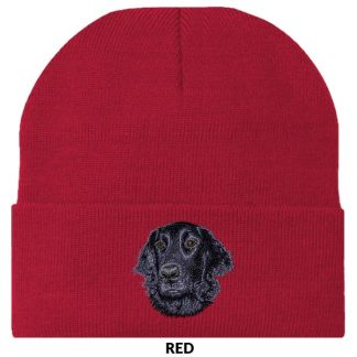 Flat Coated Retriever Knit Cap - Embroidered