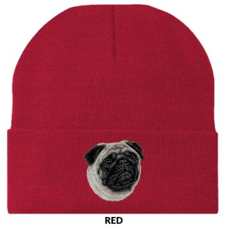 Pug Knit Cap - Embroidered