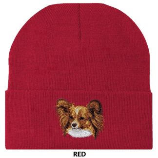 Papillon Knit Cap - Embroidered (Red)