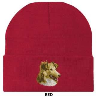 Shetland Sheepdog Knit Cap - Embroidered