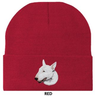 Bull Terrier Knit Cap - Embroidered (White)