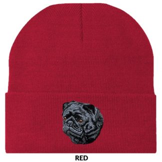 Pug Knit Cap - Embroidered (Black)