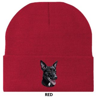 Australian Kelpie Knit Cap - Embroidered (Black)