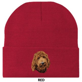 Goldendoodle Knit Cap - Embroidered (Red)