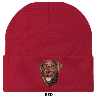 Chocolate Lab Knit Cap - Embroidered