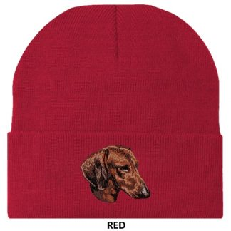 Dachshund Knit Cap - Embroidered