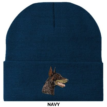 Doberman Pinscher Knit Cap - Embroidered (Red)