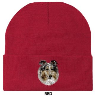 Collie Knit Cap - Embroidered (Blue Merle)