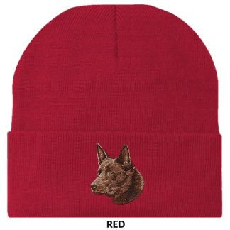 Australian Kelpie Knit Cap - Embroidered (Red)