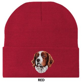 Irish Setter Knit Cap - Embroidered (Red White)