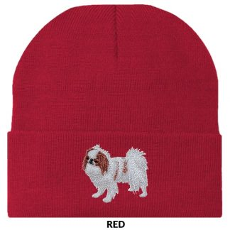Japanese Chin Knit Cap - Embroidered (Red)