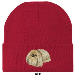 Pekingese Knit Cap - Embroidered