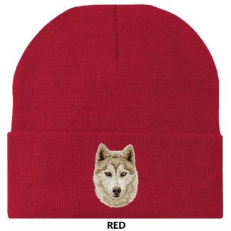 Siberian Husky Knit Cap - Embroidered (Red)