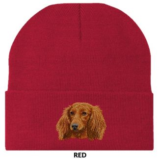 Longhaired Dachshund Knit Cap - Embroidered (Red)