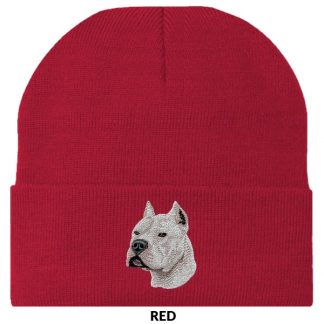 Pitbull Terrier Knit Cap - Embroidered (White)