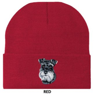 Schnauzer Knit Cap - Embroidered (Uncropped)